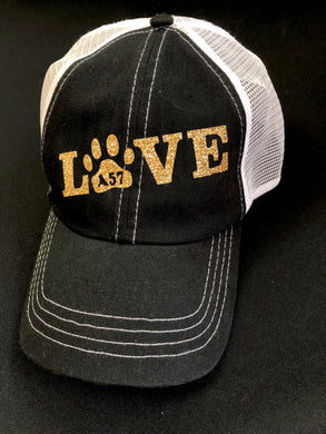 Gold Glitter LOVE Mesh Back Cap