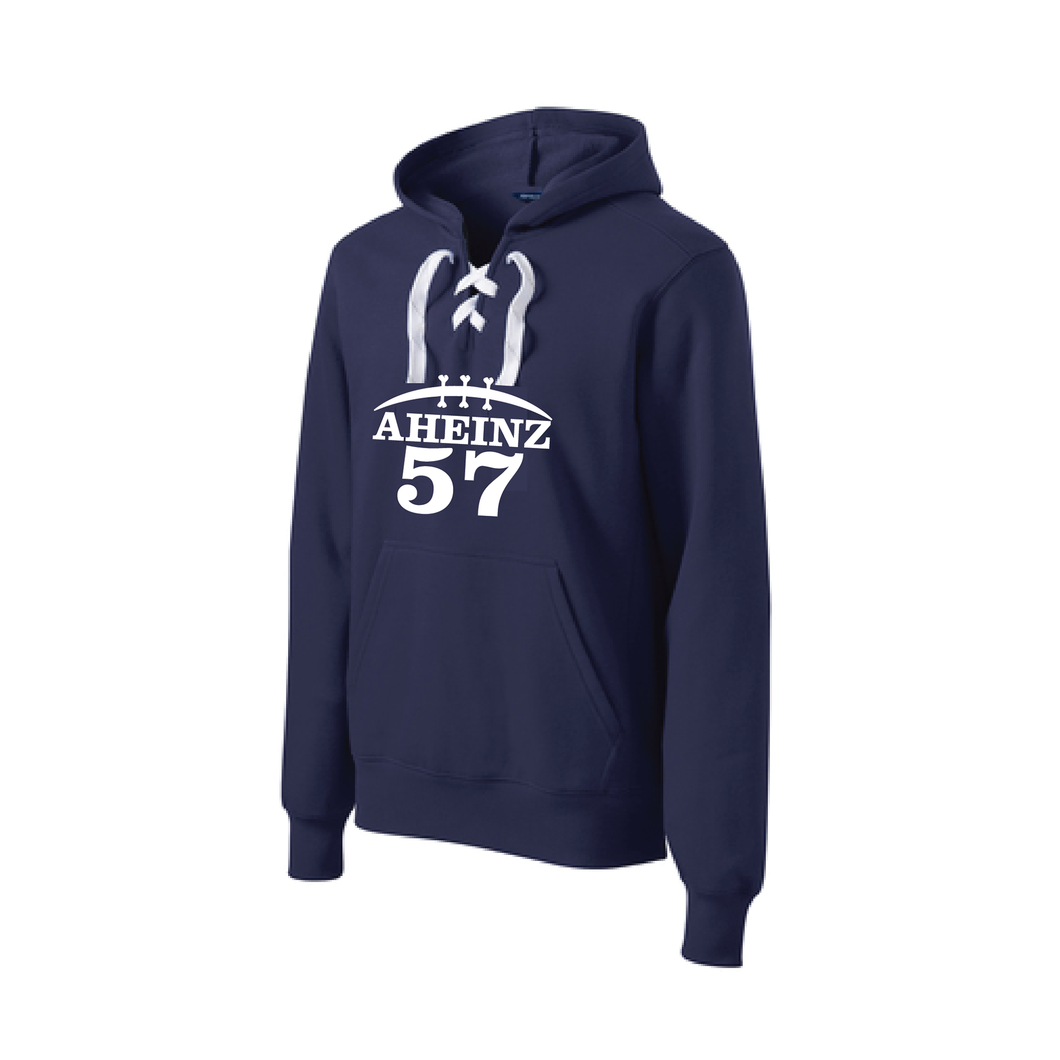 A57 Football Hoodie with criss-cross laces on the front