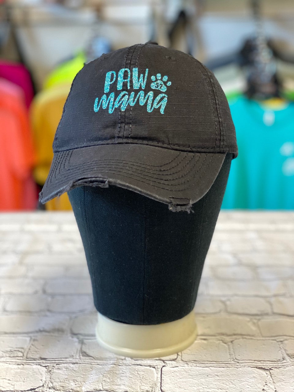 Tiffany Blue Glitter Paw Mama Frayed Edges Black Cap