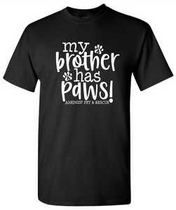 "CLOSEOUT ""My Brother Has Paws"" YOUTH TEE small - xlarge available"