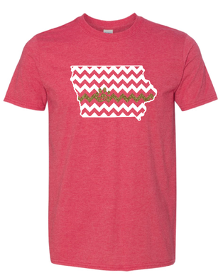 T-shirt - Heather Red with Iowa Chevron and Glitter Line/Paw