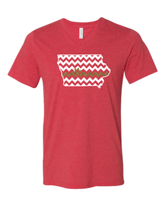 T-shirt - V-Neck with Iowa Chevron and Glitter Line/Paw