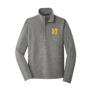 57 Logo Embroidered on Left Chest on a Quarter-Zip unisex Heather Microfleece