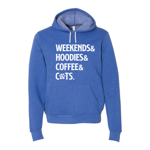 "A57 ""Weekends& Hoodies& Coffee& CATS"" Sponge Fleece Unisex Hooded Sweatshirt"