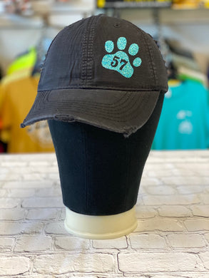 Tiffany Blue Glitter Paw 57 with Frayed Edges Black Cap