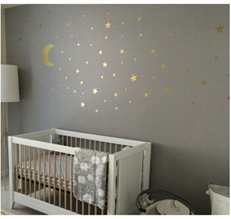Gold stars wall decal vinyl stickers- golden Star Kids Rooms Wall ...