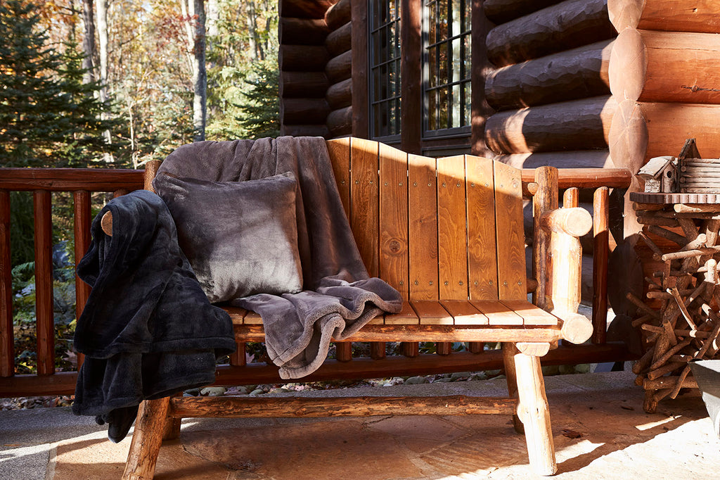 Rustic lodge with our heavyweight PrimaLush™  throw blanket and pillow.