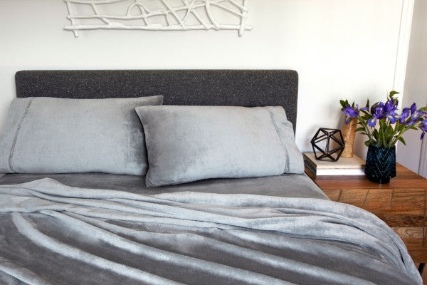 VelvetLoft Plush Sheets on a bed