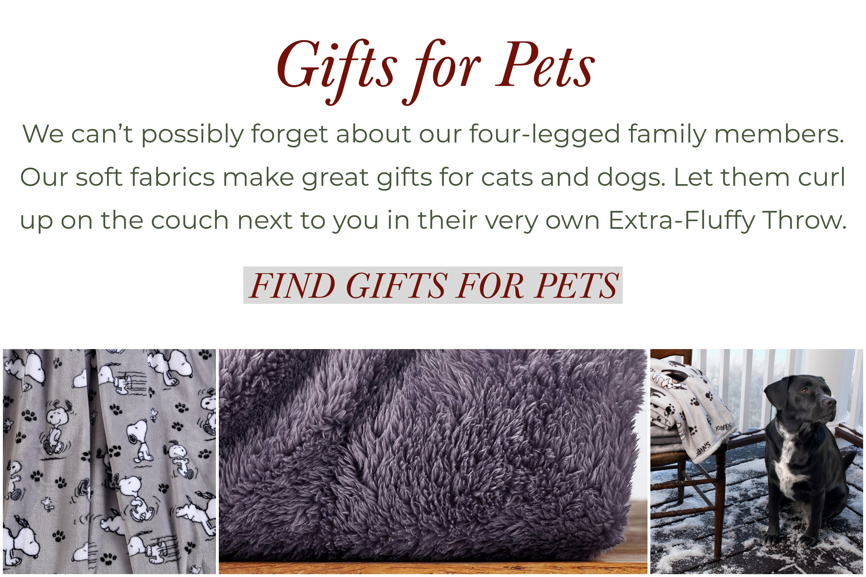 Gifts for pets. we can't possibly forget about our four-legged family members. Our softest fabrics make great gifts for cats and dogs. Let them curl up onthe couch nect to you in their very on Extra-Fluffy Throw.