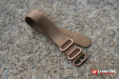 Brown Nylon Military Style Strap Bronze Toned Hardware