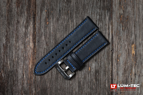 Black Leather with Blue Stitch 24/22