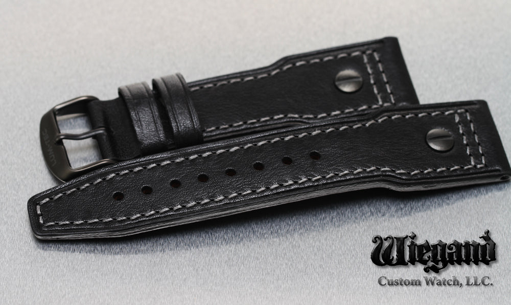 24/20 Gray Stitch Leather Strap PVD