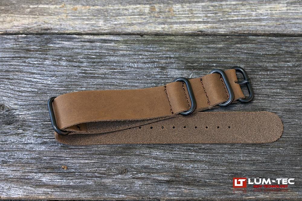 Brown Leather Military PVD Strap
