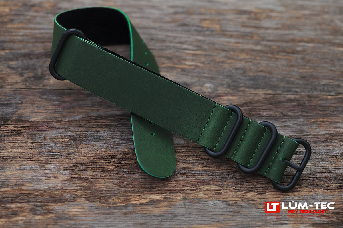 Green Leather Military 22mm PVD Strap