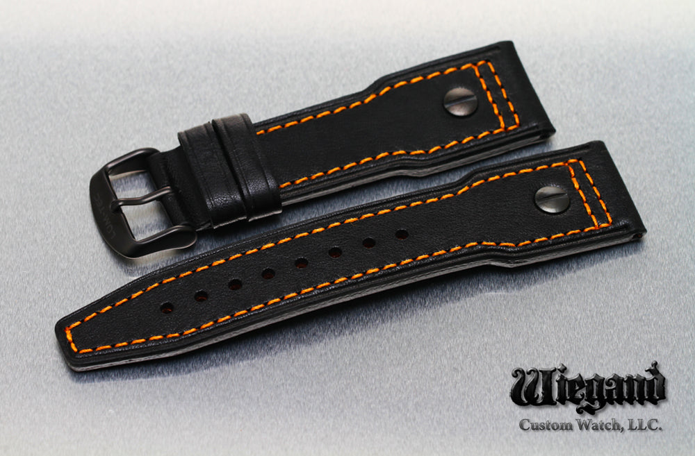 24/20 Orange Stitch Leather Strap PVD