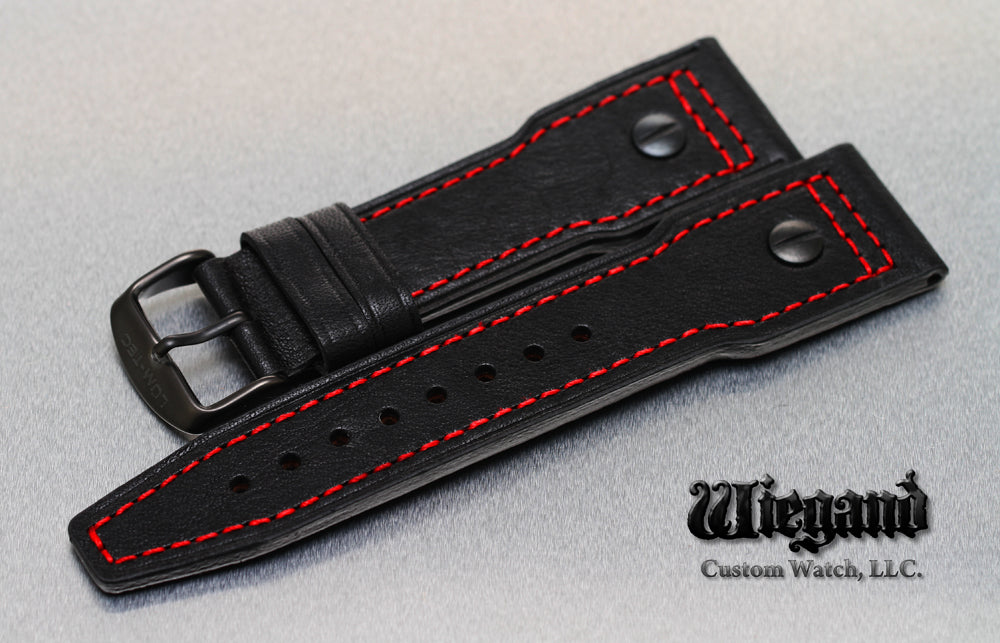 24/20 Red Stitch Leather Strap PVD