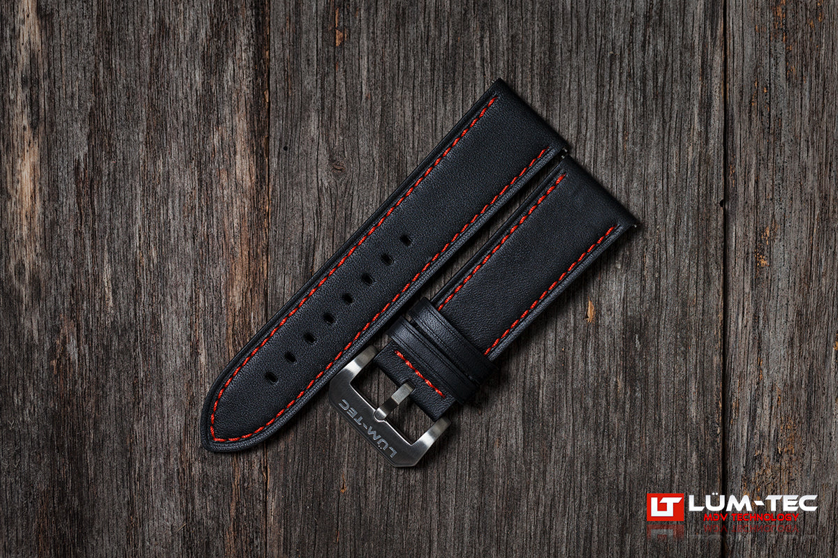 Black Leather with Red Stitch 24/22