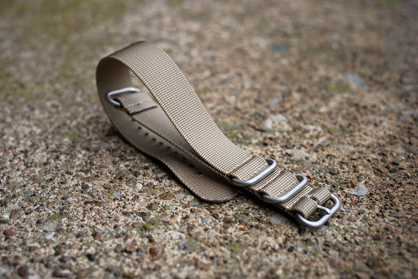 Tan Nylon Military Style Strap SS Hardware