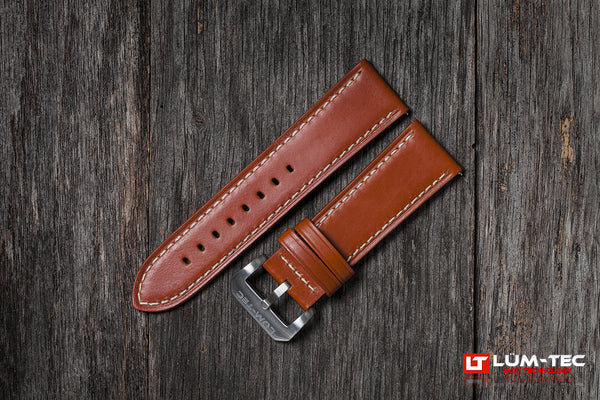 Brown Leather with White Stitch 24/22