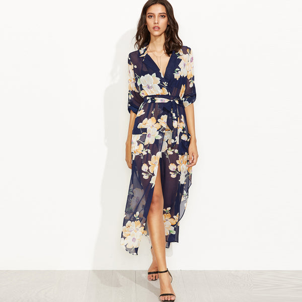 Sheer Floral Maxi Wrap Dress