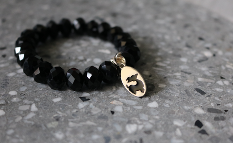 Stack bracelets - Black Onyx faceted beads