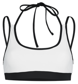 sustainable crop style bikini top with double straps in reversible black and white