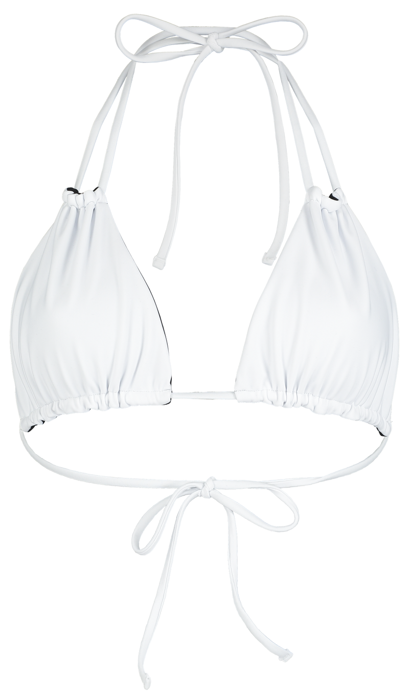 sustainable bikini top with multi-way straps in reversible black and white