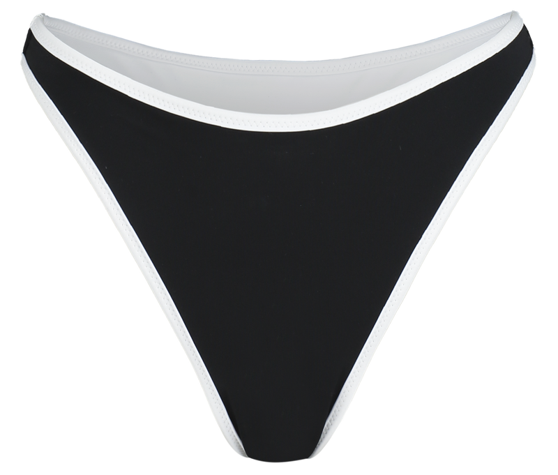 sustainable high waisted thong bikini bottoms with in reversible black and white