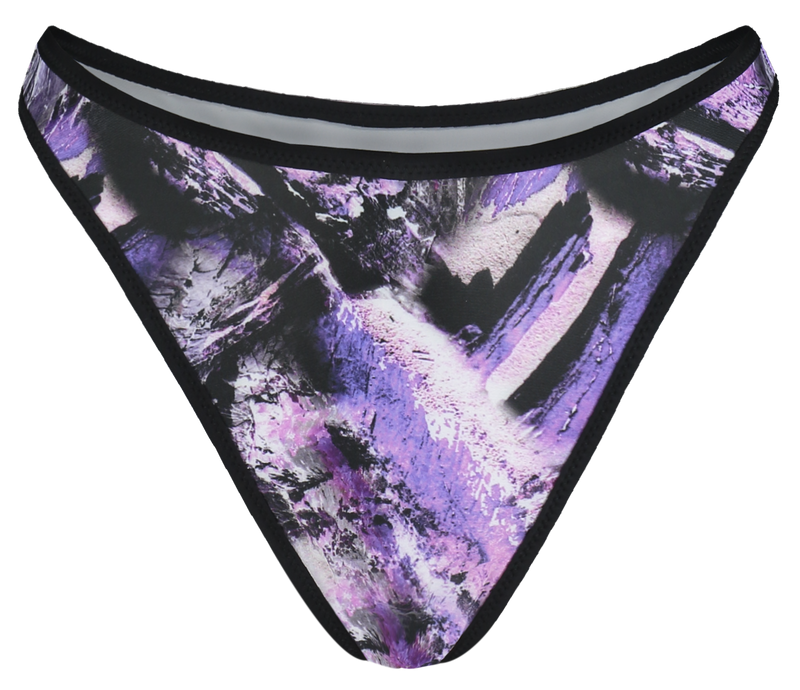 sustainable high waisted thong bikini bottoms with in reversible purple print and light grey