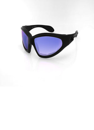Bobster GXR Sunglasses-Matte Black W-Smoked Blue Mirror Lens