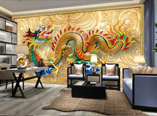 Lucky Custom Chinese golden dragon wallpaper background mural 3d