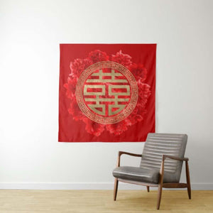 Custom Double Happiness Symbol on Red Peonies Tapestry Great Love