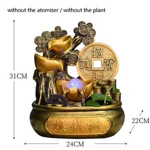 Lucky Money Tree Water Fountain Feng Shui Crystal Ball with mist