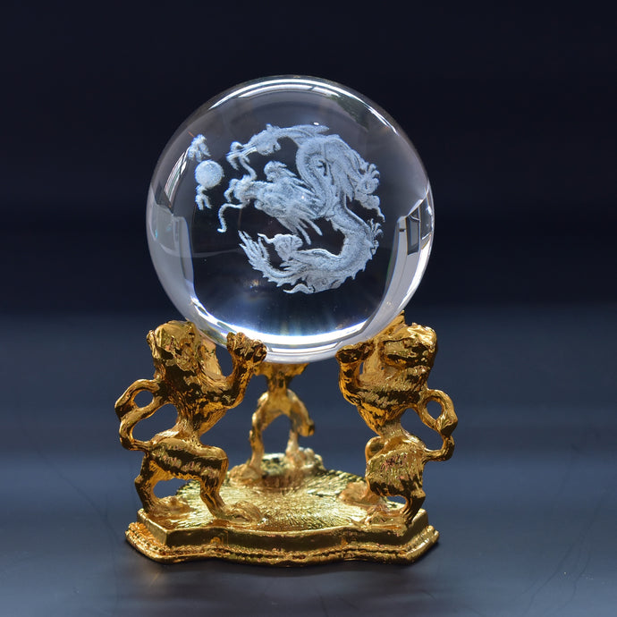 Laser Engraved Crystal Dragon Ball with Gold Base