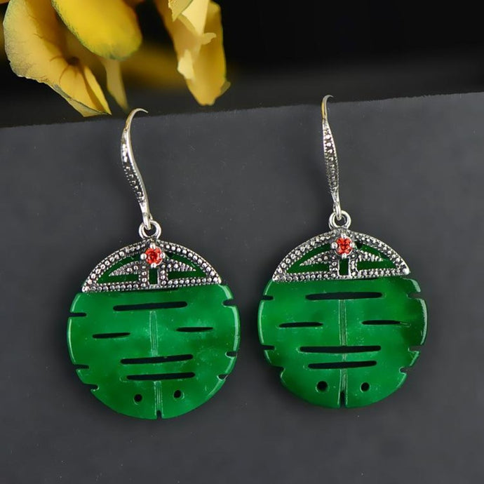 LOVE ATTRACTION ENHANCER Beautiful Green Double Happiness Earrings