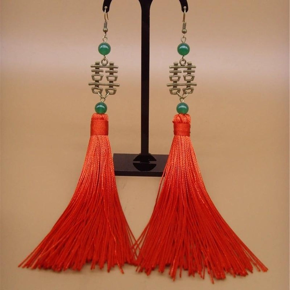 Bronze Double Happiness Earrings Long Red Tassels Earrings