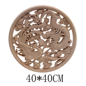 Powerful Dragon and Phoenix Carved Wall Plaque