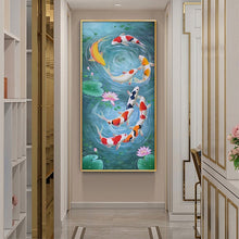 KOI FISH AND LOTUS ART Canvas Painting Symbol of Prosperity and Luck