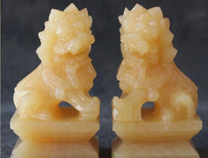 Yellow Jade Carving Foo Fu Dog For Protection