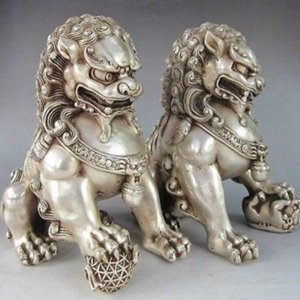PROTECTION SYMBOL Silver Fu Dogs Ward Off Bad Energy