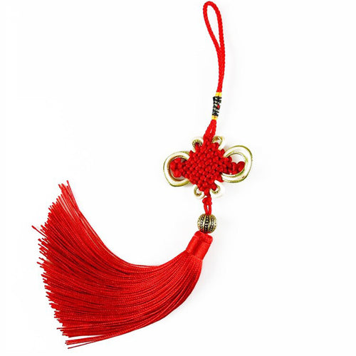 Red Knot Cross Stitch Tassel talisman Good Luck Knot and protection