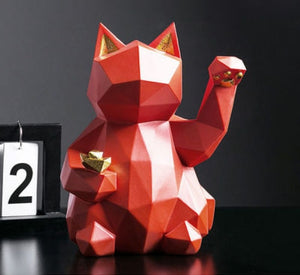 Geometric Lucky Cat for Fortune