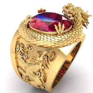 Feng Shui Jewelry Wealth Enhancer UNISEX Dragon Gold Ring with Red Crystal Attracts money in your hand