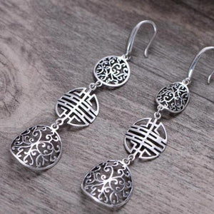 Real 925 Sterling Silver Double Happiness Drop Earrrimgs