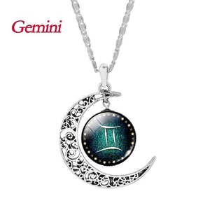 Crescent Moon Necklace with Astrological Sign