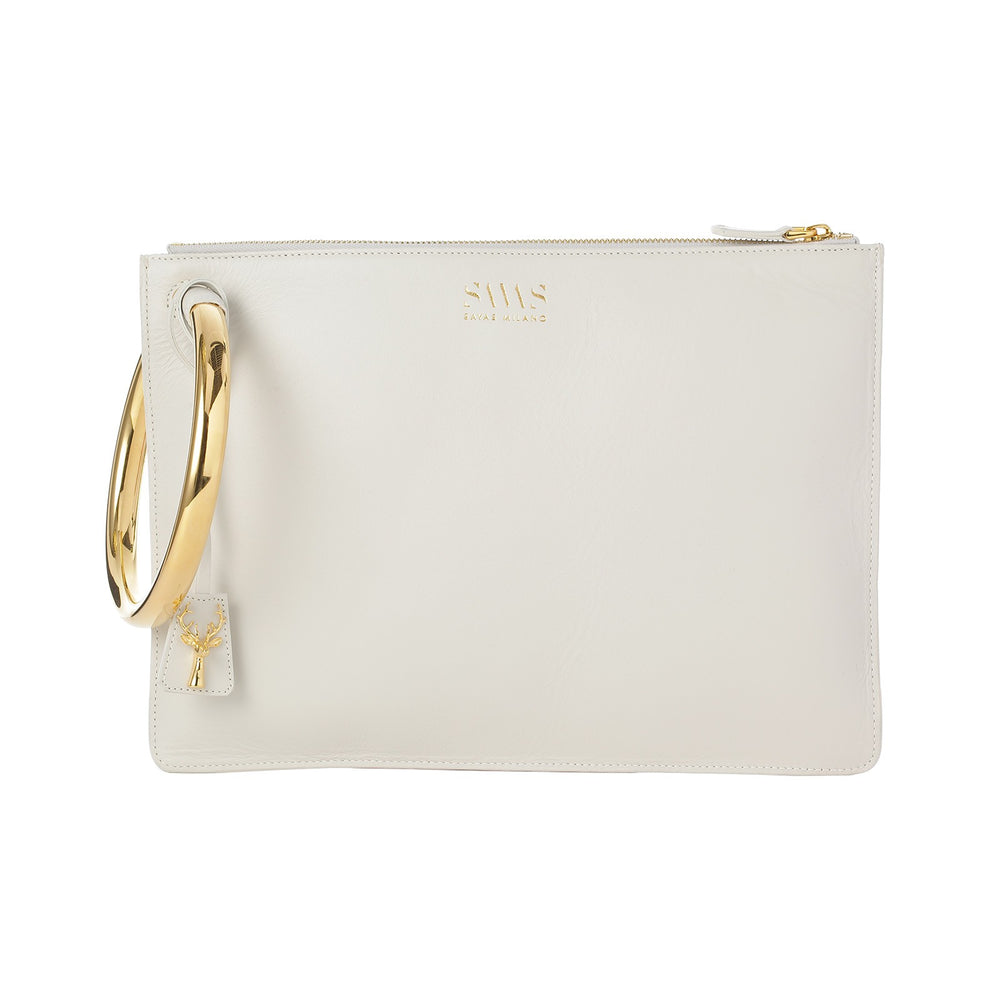 WHITE MATILDA CLUTCH-FRONT VIEW-THE BOX BOUTIQUE