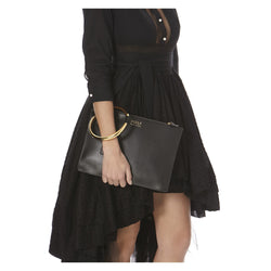 BLACK MATILDA CLUTCH-SIDE VIEW-THE BOX BOUTIQUE