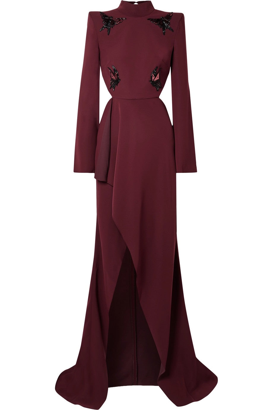 Mugler Embroidered Women Burgundy Gown