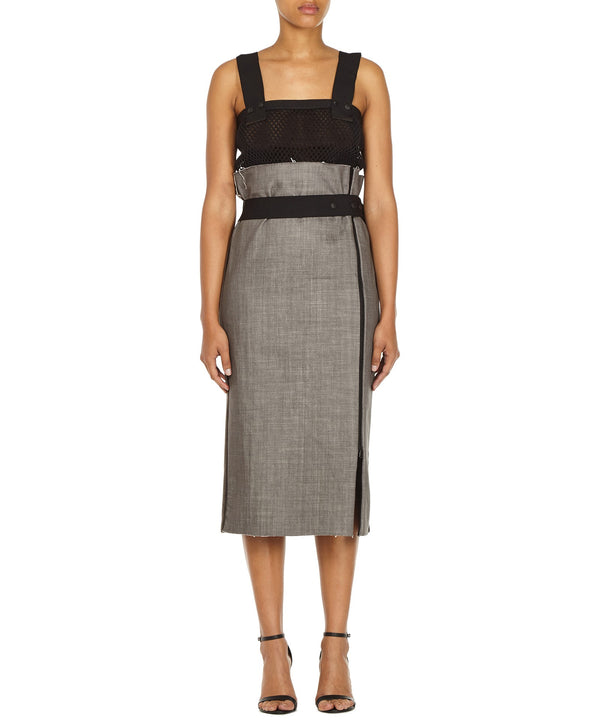 ZIP PENCIL SKIRT IN GREY-FRONT VIEW-THE BOX BOUTIQUE
