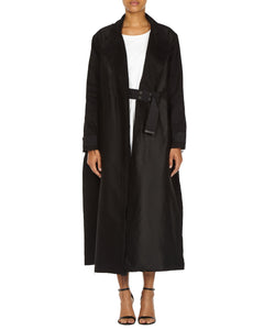 BLACK LONG SLIT COAT-FRONT VIEW-THE BOX BOUTIQUE